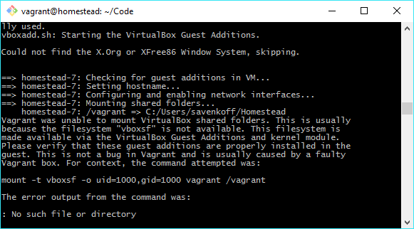Vagrant Error: Unable to Mount VirtualBox Shared Folders